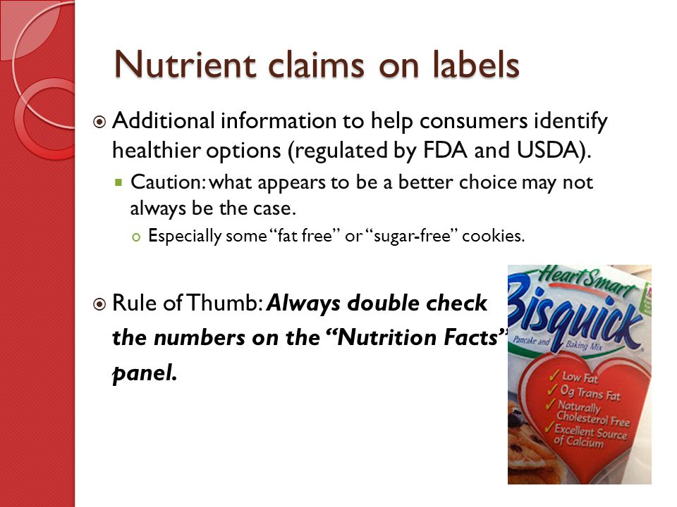 Nutrient claims on labels