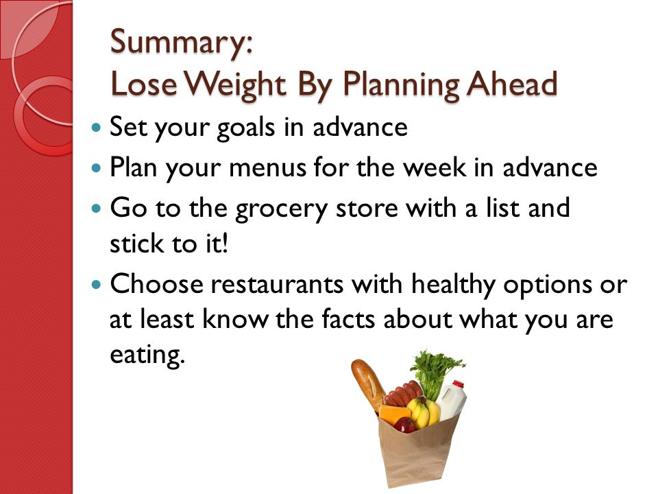 Summary: Lose Weight By Planning Ahead