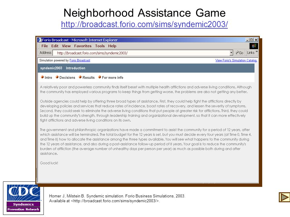 Neighborhood Assistance Game http://broadcast. forio