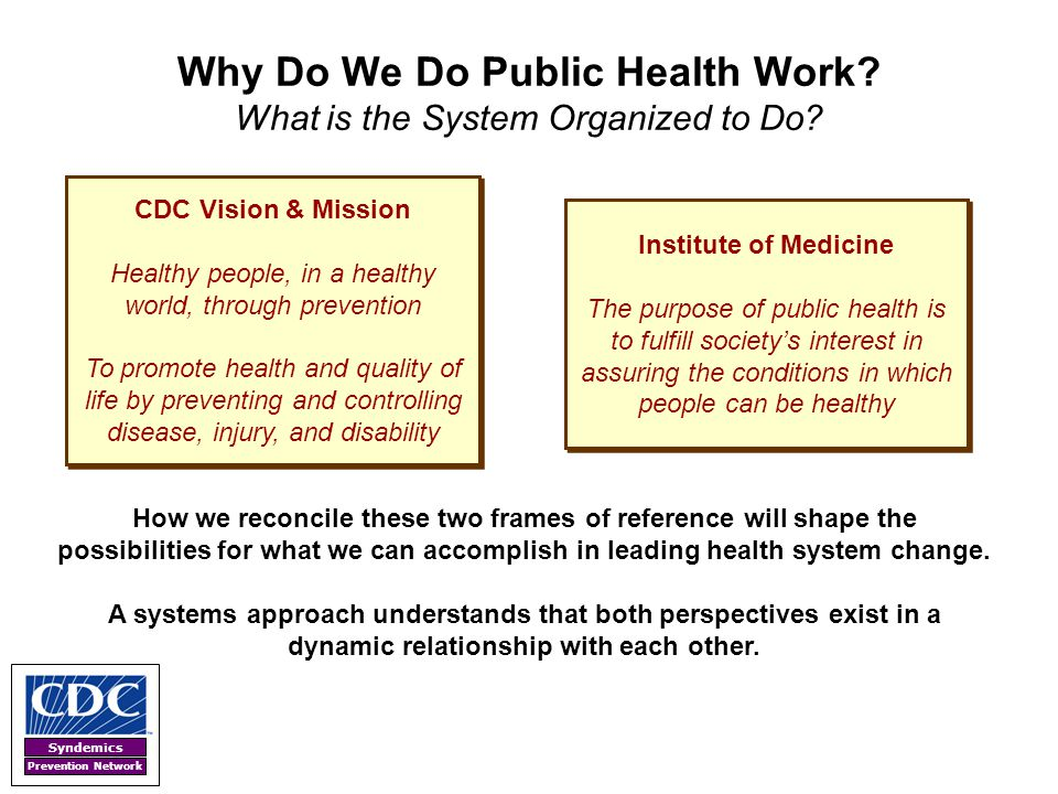 Why Do We Do Public Health Work What is the System Organized to Do