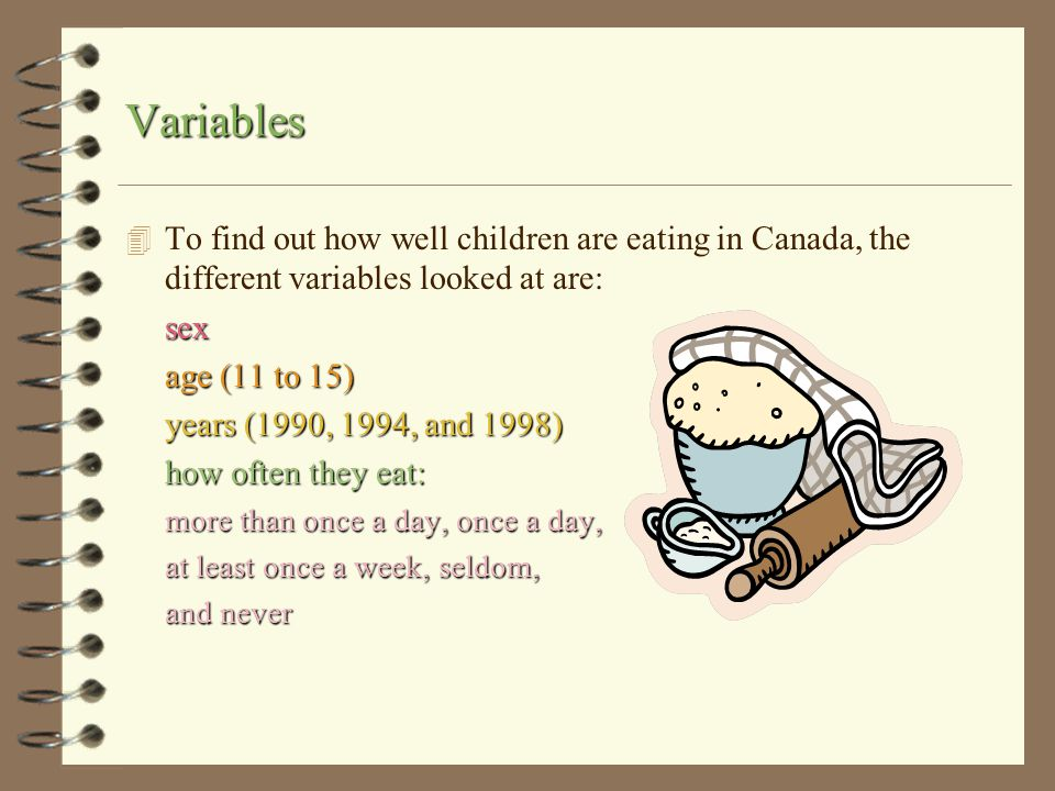 Variables To find out how well children are eating in Canada, the different variables looked at are: