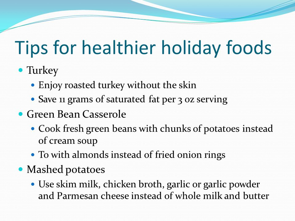 Tips for healthier holiday foods