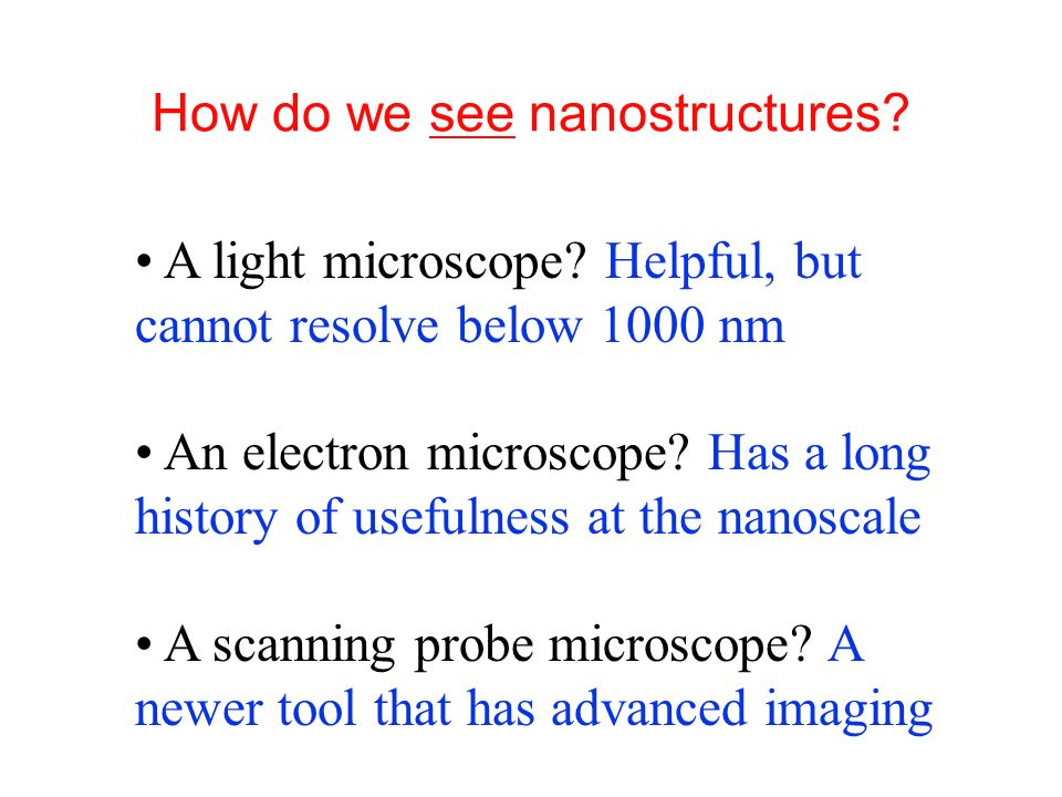 How do we see nanostructures