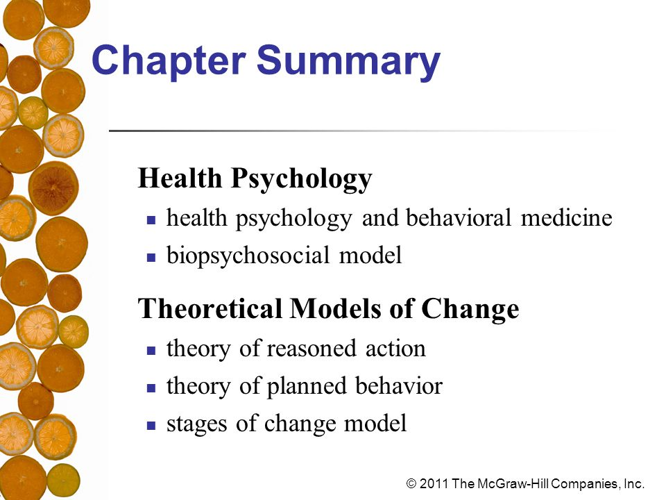 Chapter Summary Health Psychology Theoretical Models of Change