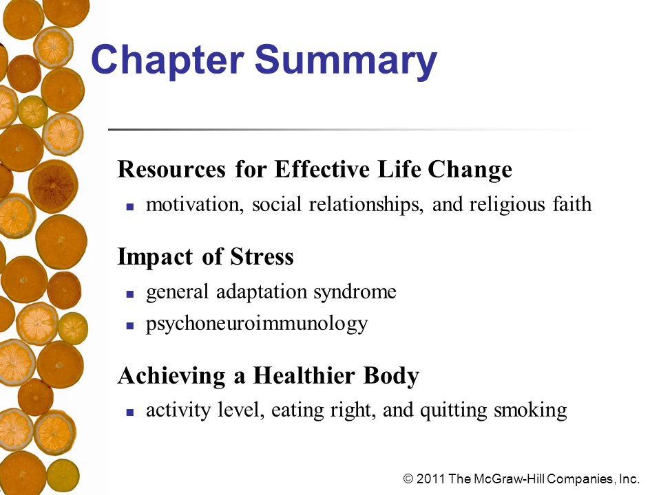 Chapter Summary Resources for Effective Life Change Impact of Stress