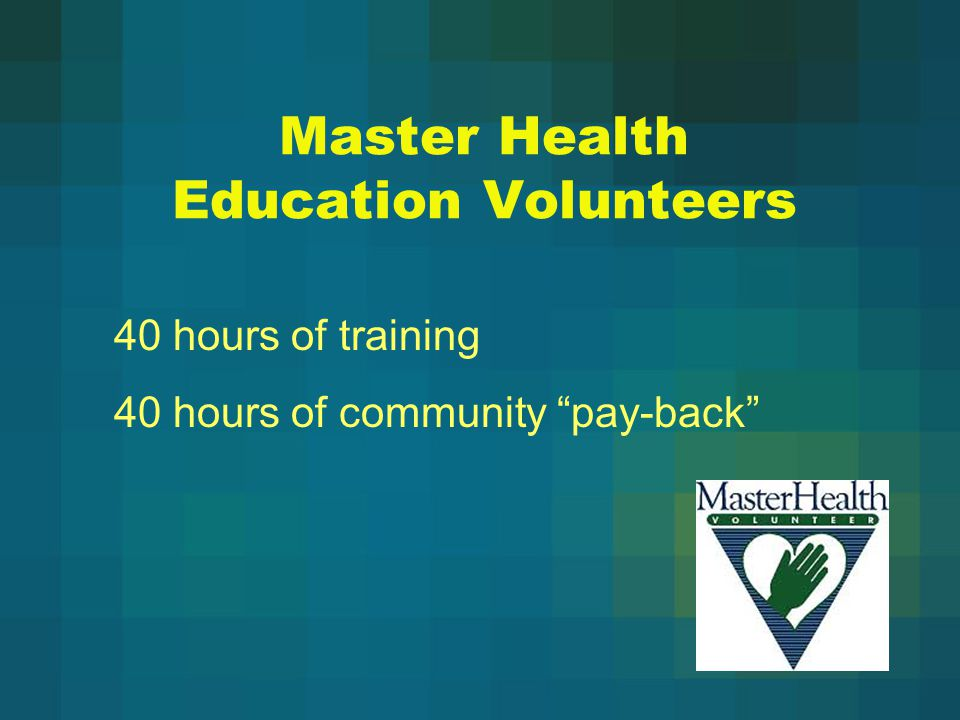 Master Health Education Volunteers