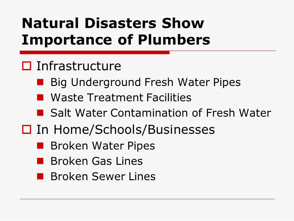 Natural Disasters Show Importance of Plumbers