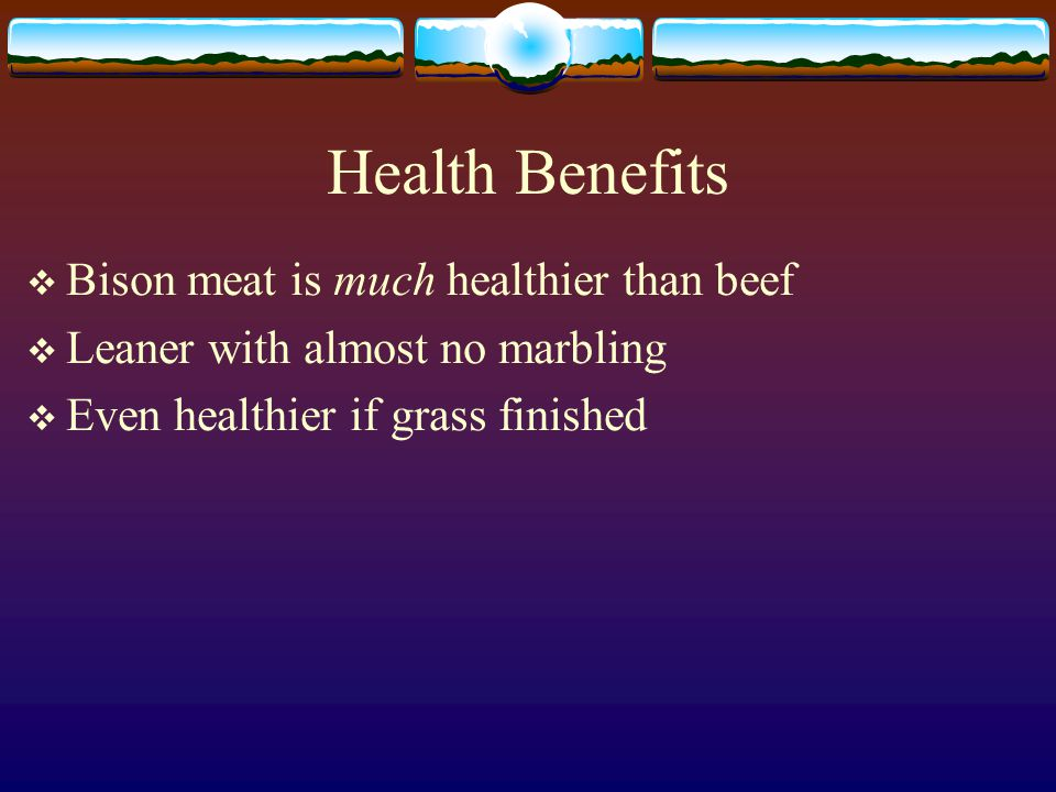 Health Benefits Bison meat is much healthier than beef