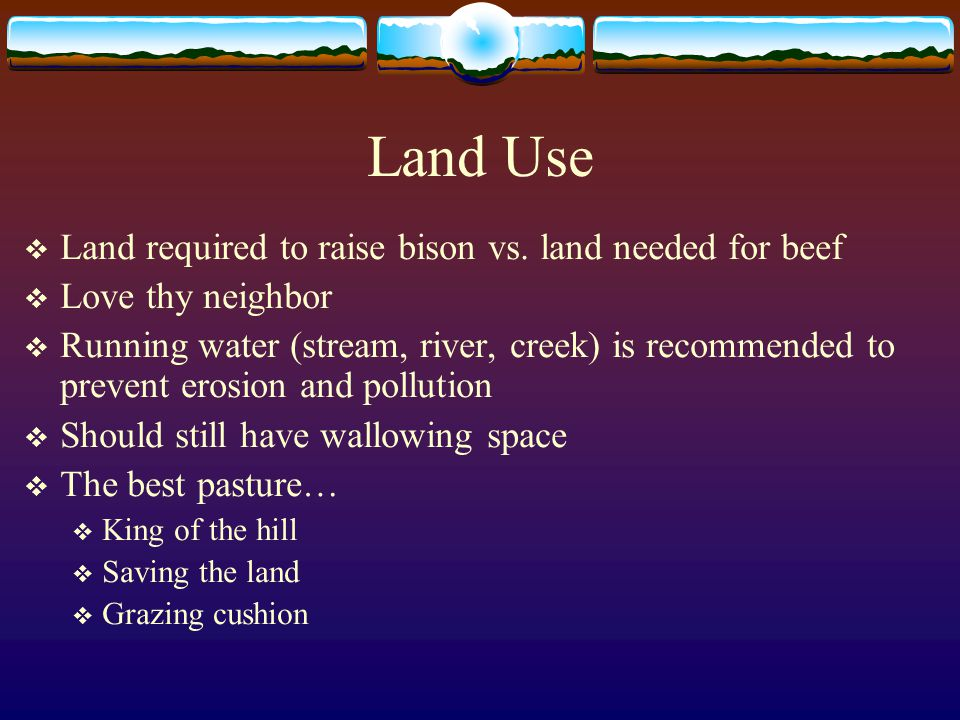 Land Use Land required to raise bison vs. land needed for beef