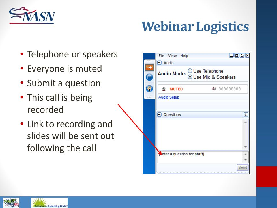 Webinar Logistics Telephone or speakers Everyone is muted