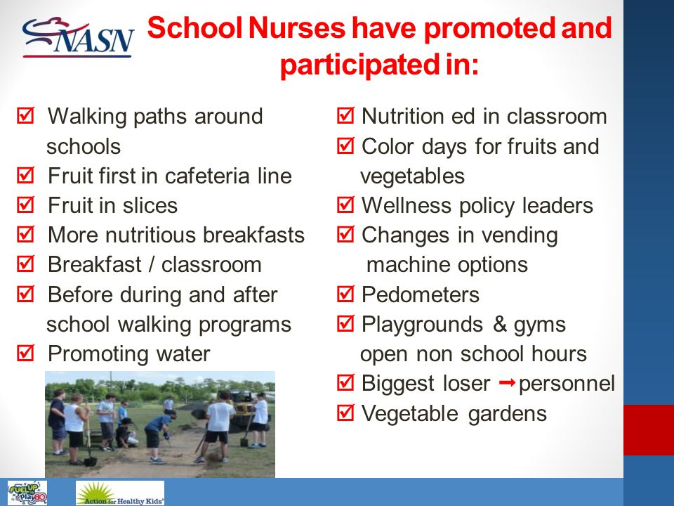 School Nurses have promoted and participated in: