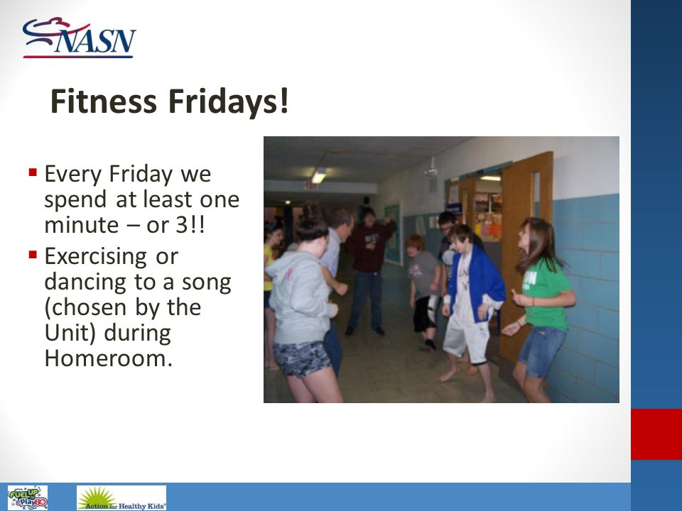 Fitness Fridays! Every Friday we spend at least one minute – or 3!!