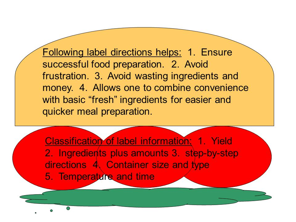 Following label directions helps: 1. Ensure successful food preparation. 2. Avoid frustration. 3. Avoid wasting ingredients and money. 4. Allows one to combine convenience with basic fresh ingredients for easier and quicker meal preparation.