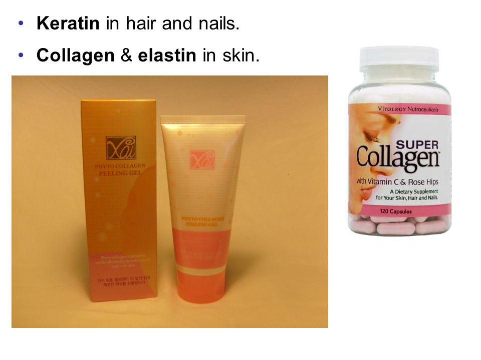 Keratin in hair and nails.