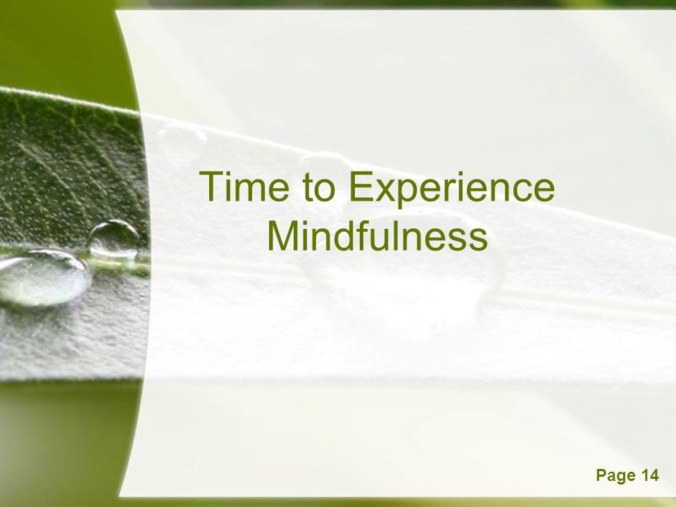 Time to Experience Mindfulness
