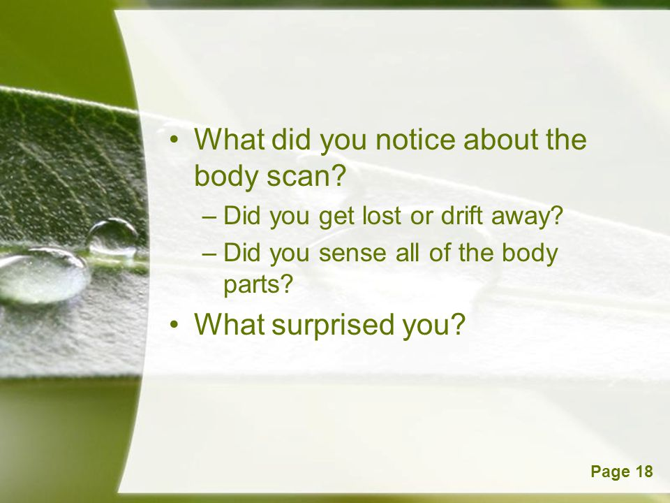 What did you notice about the body scan