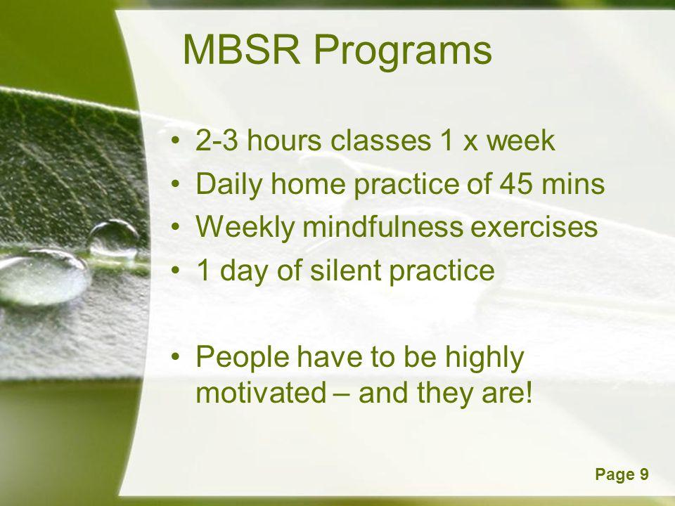 MBSR Programs 2-3 hours classes 1 x week
