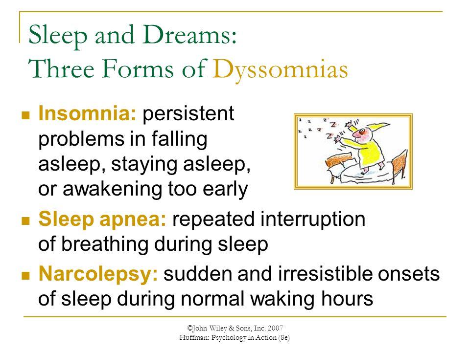 Sleep and Dreams: Three Forms of Dyssomnias