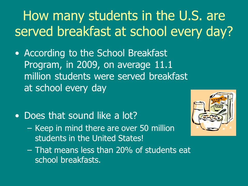 How many students in the U.S. are served breakfast at school every day