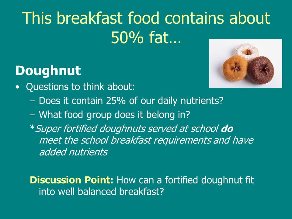 This breakfast food contains about 50% fat…