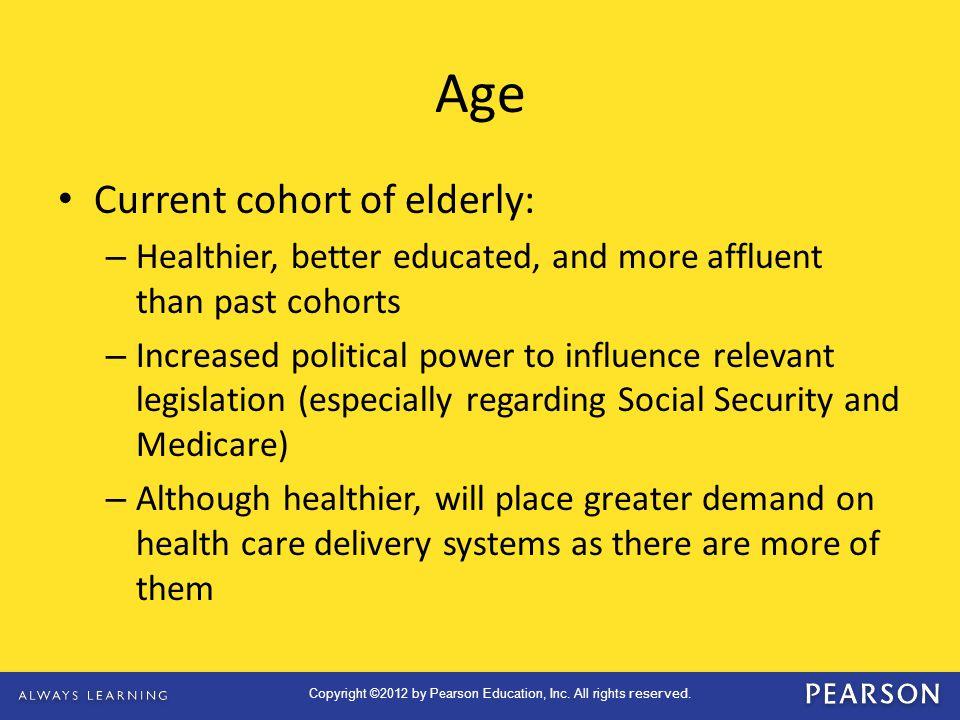 Age Current cohort of elderly: