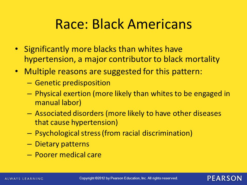 Race: Black Americans Significantly more blacks than whites have hypertension, a major contributor to black mortality.