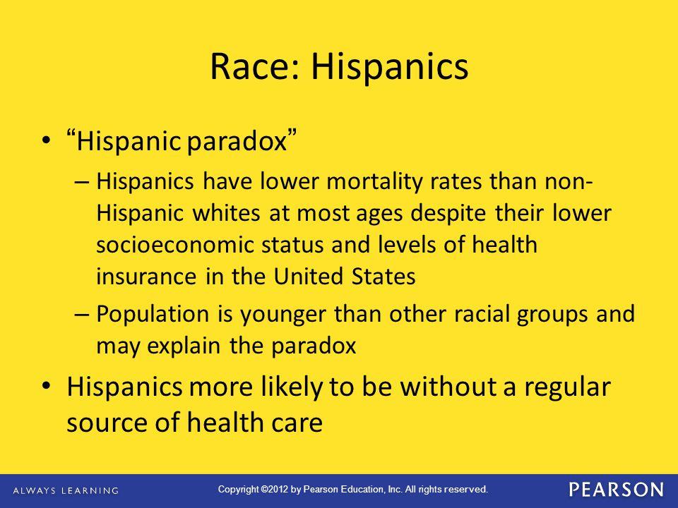 Race: Hispanics Hispanic paradox