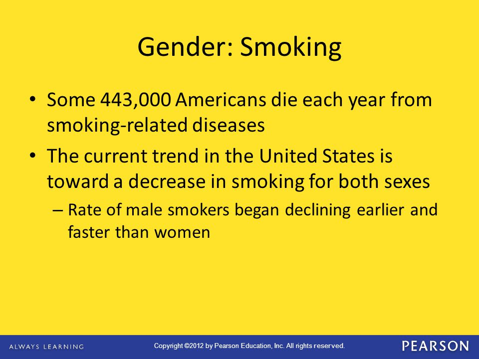 Gender: Smoking Some 443,000 Americans die each year from smoking-related diseases.