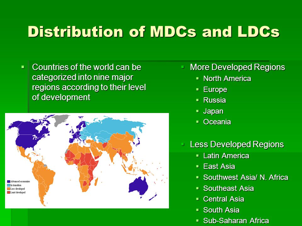 Distribution of MDCs and LDCs