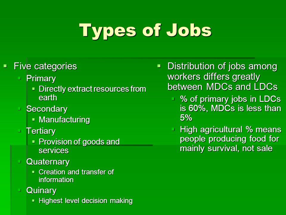 Types of Jobs Five categories