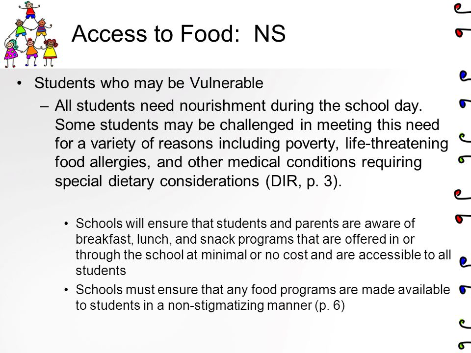 Access to Food: NS Students who may be Vulnerable