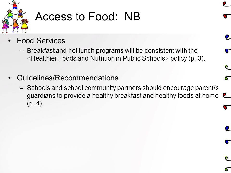 Access to Food: NB Food Services Guidelines/Recommendations