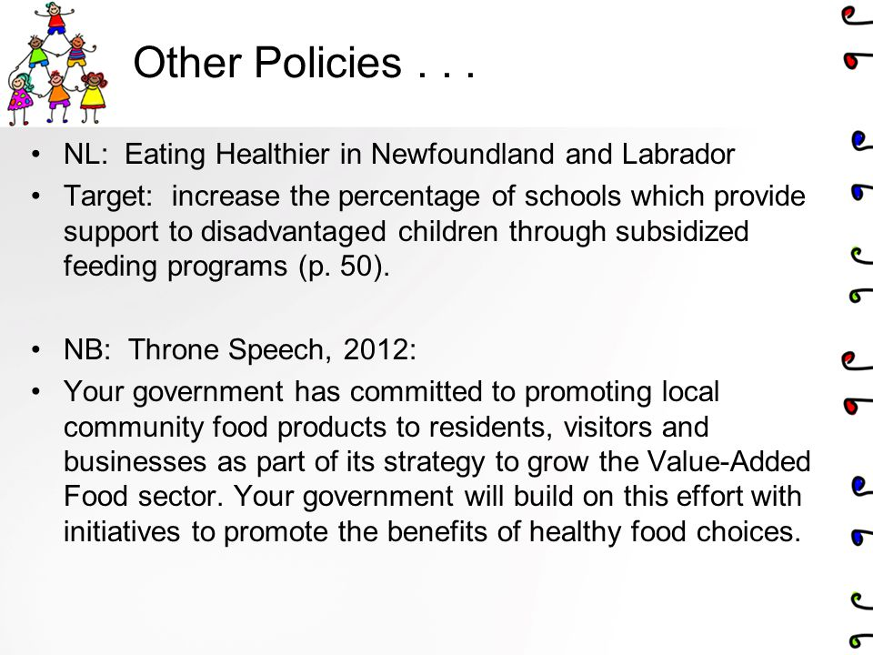 Other Policies . . . NL: Eating Healthier in Newfoundland and Labrador