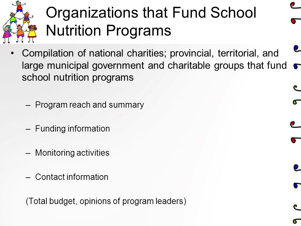 Organizations that Fund School Nutrition Programs