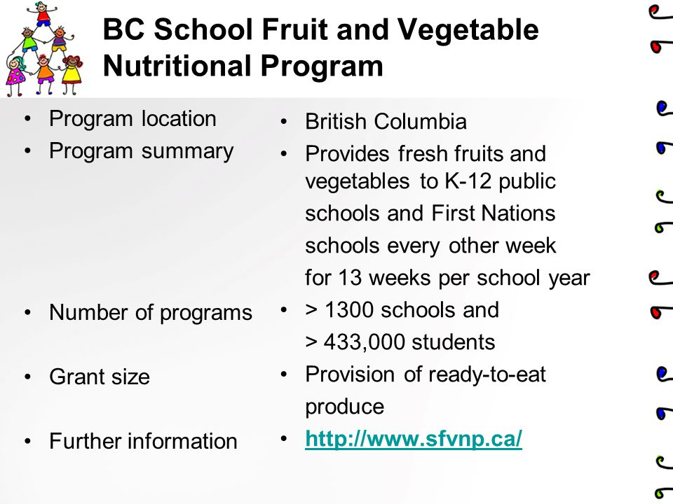 BC School Fruit and Vegetable Nutritional Program