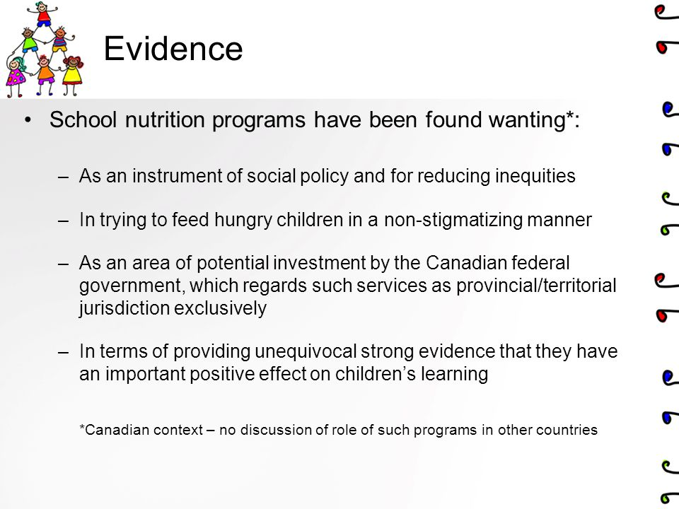 Evidence School nutrition programs have been found wanting*: