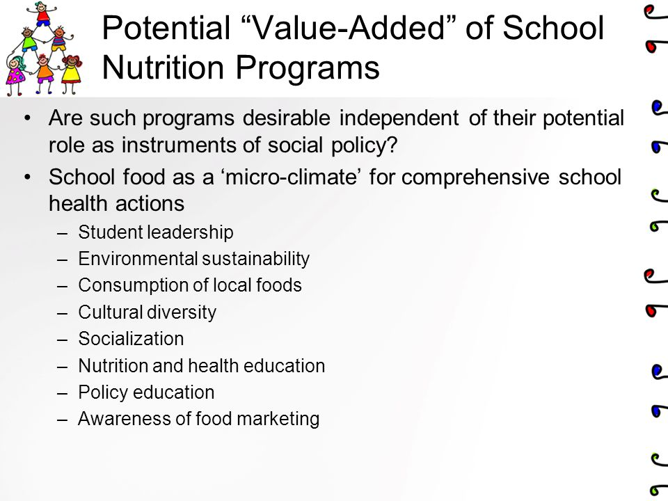 Potential Value-Added of School Nutrition Programs