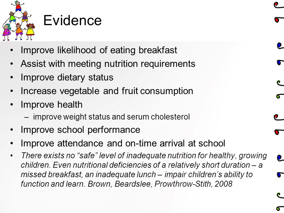 Evidence Improve likelihood of eating breakfast