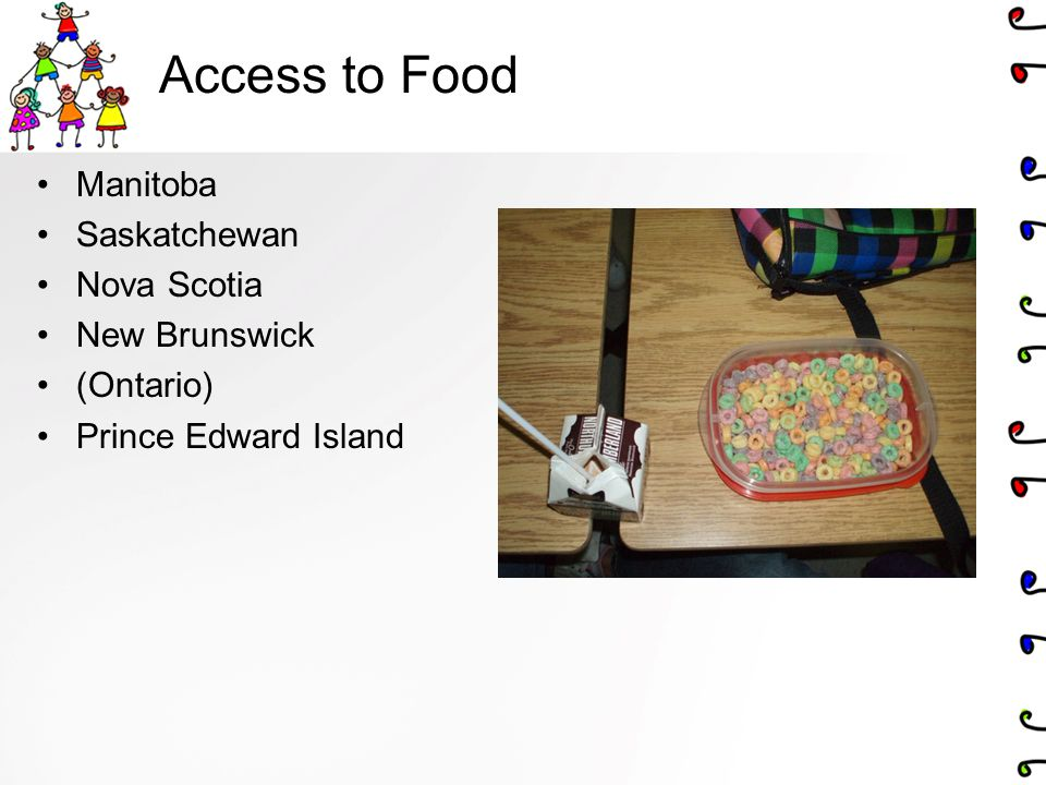 Access to Food Manitoba Saskatchewan Nova Scotia New Brunswick