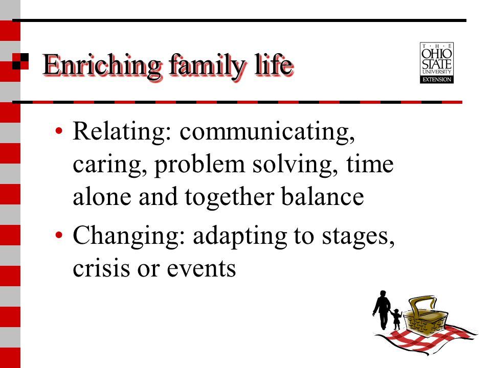 Enriching family life Relating: communicating, caring, problem solving, time alone and together balance.