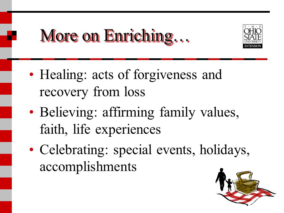 More on Enriching… Healing: acts of forgiveness and recovery from loss