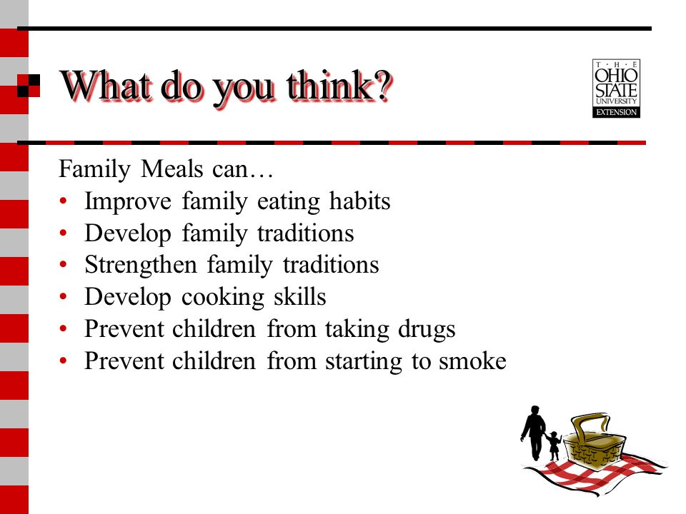 What do you think Family Meals can… Improve family eating habits