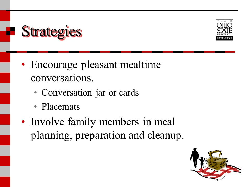 Strategies Encourage pleasant mealtime conversations.