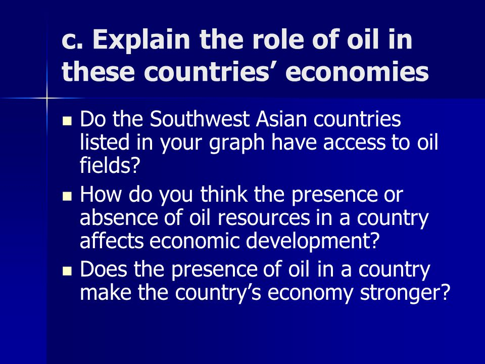 c. Explain the role of oil in these countries' economies