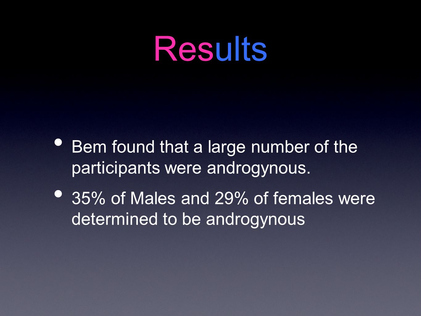 Results Bem found that a large number of the participants were androgynous.