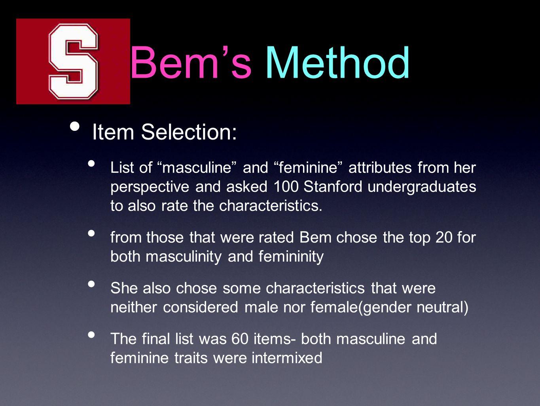 Bem's Method Item Selection: