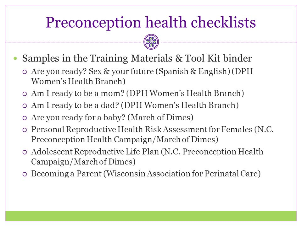Preconception health checklists