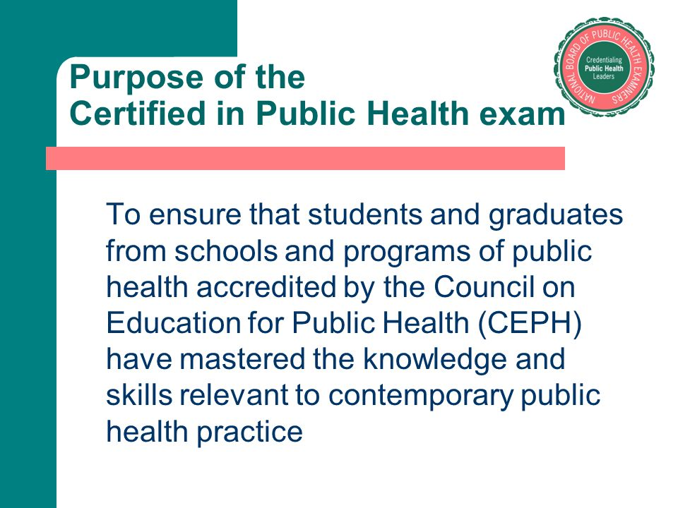 Purpose of the Certified in Public Health exam