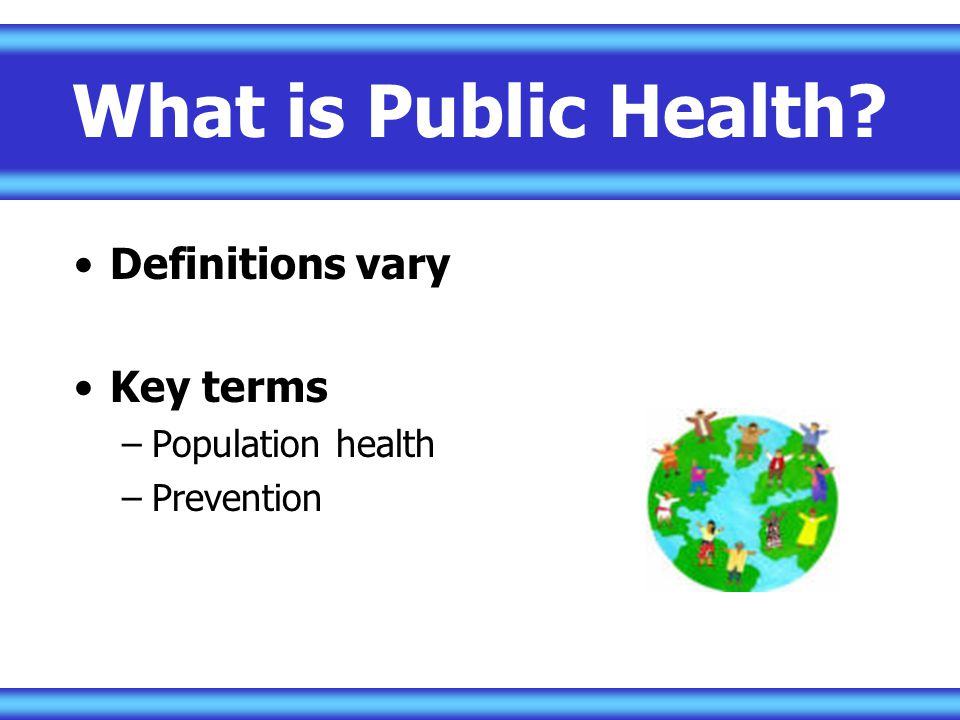 What is Public Health Definitions vary Key terms Population health