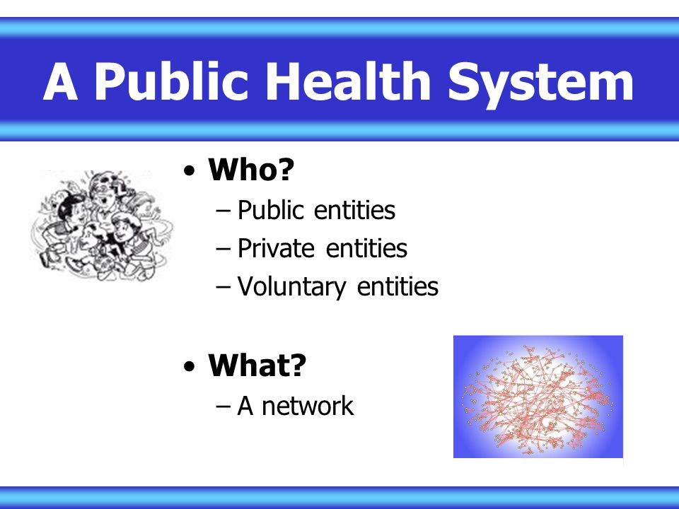 A Public Health System Who What Public entities Private entities